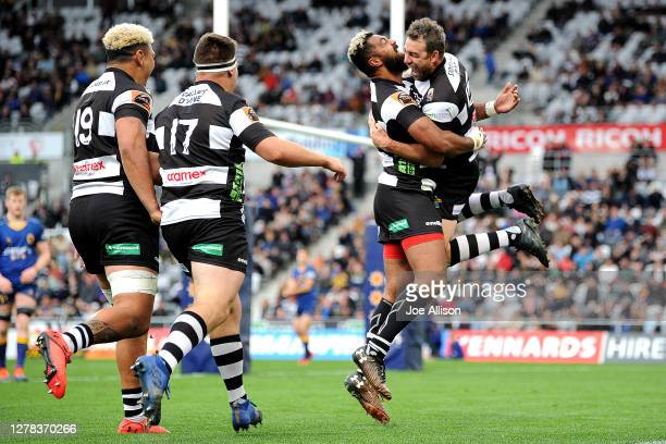 Kurt Baker of Hawkes Bay celebrates after scoring a try during the round 4 Mitre 10 Cup match between Otago and Hawkes Bay at Forsyth Barr Stadium on...