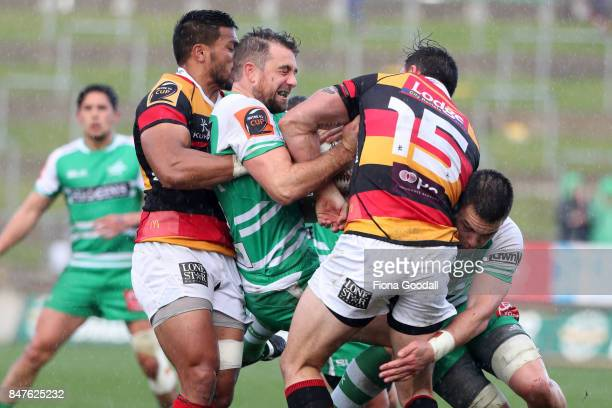 Kurt Baker of Manawatu is tackled by Zac Guildford of Waikato during the round five Mitre 10 Cup match between Waikato and Manawatu at FMG Stadium on...