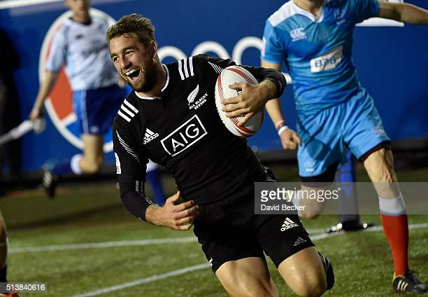 Kurt Baker of New Zealand carries the ball into the tryzone against Russia during the USA Sevens Rugby tournament at Sam Boyd Stadium on March 4 2016...