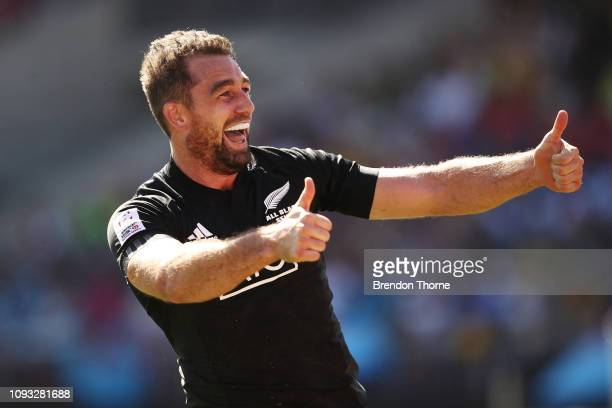 Kurt Baker of New Zealand celebrates scoring a try in the Men's Cup Semi Final 1 played between Fiji and New Zealand during the 2019 Sydney HSBC...