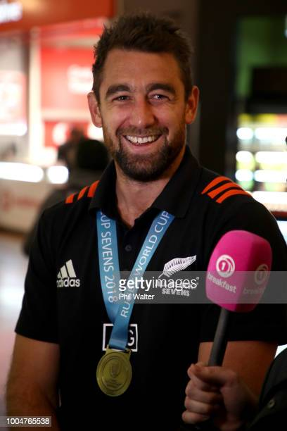 Kurt Baker of the New Zealand All Black Sevens arrives back from the Rugby Sevens World Cup in San Francisco at Auckland International Airport on...