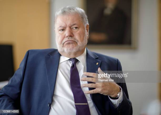 Kurt Beck chairman of the German Friedrich Ebert Stiftung and State Premier out of commission gives an interview on August 29 2018 in Berlin Germany