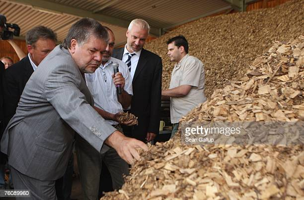 Kurt Beck Chairman of the German Social Democrats the SPD inspects wood chips at the local bioenergy plant during a visit August 14 2007 in the...