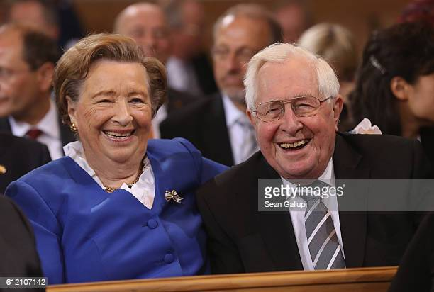 Kurt Biedenkopf and his wife Ingrid arrive for a commemoratory service at the Frauenkirche church during celebrations to mark German Unity Day on...