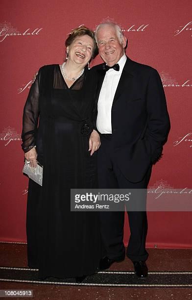Kurt Biedenkopf and his wife Ingrid Biedenkopf arrive at the Semper Opera ball on January 14, 2011 in Dresden, Germany.