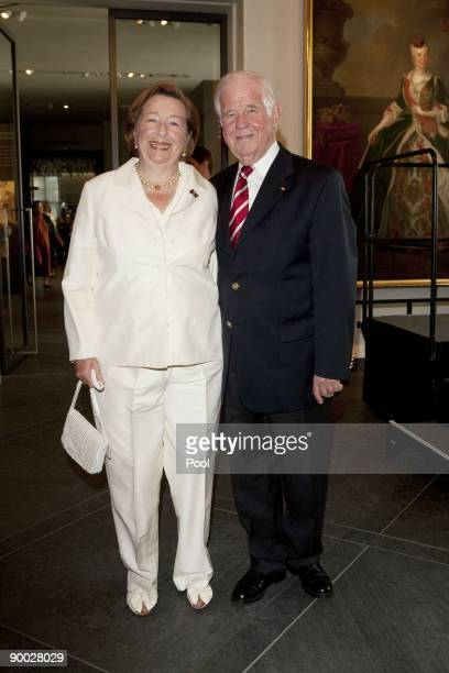 Kurt Biedenkopf and wife Ingrid attend the opening of the Saxon and Danish art exhibition in the 'Fuerstengalerie' of the Dresden Castle on August...
