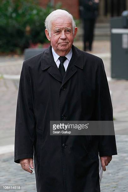 Kurt Biedenkopf politician and member of the German Christian Democrats arrives for the memorial service for Loki Schmidt wife of former German...
