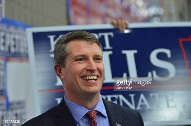 Kurt Bills smiles after the results of the first round of balloting at the Minnesota GOP State Convention in St. Cloud on Friday, May 18, 2012.