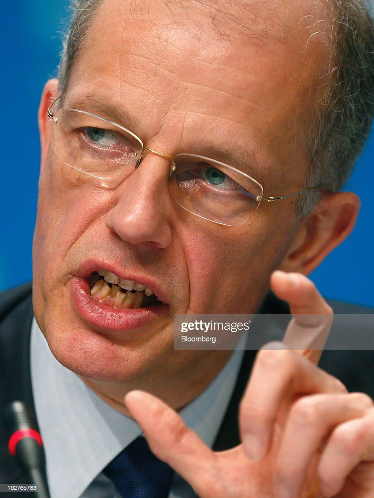 Kurt Bock, chief executive officer of BASF SE, gestures as he speaks during a news conference to announce the company's results in Ludwigshafen, Germany, on Tuesday, Feb. 26, 2013. BASF SE forecast growth in earnings and sales this year after demand for plastics used to lighten cars and higher oil production buoyed quarterly earnings. Photographer: Ralph Orlowski/Bloomberg via Getty Images