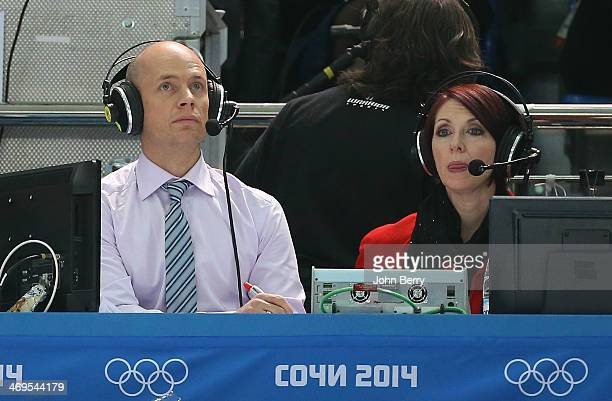 Kurt Browning and Carole Lane comment for CBC the Figure Skating Men's Free Skating on day seven of the Sochi 2014 Winter Olympics at Iceberg Skating...
