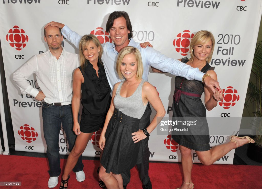 Kurt Browning, Christine Hough-Sweeney, Russ Courtnall, Anabelle Langlois and Shae-Lynn Boune from Battle of The Blades attend CBC Television 2010 Fall Preview at the CBC Broadcast Centre on May 27, 2010 in Toronto, Canada.