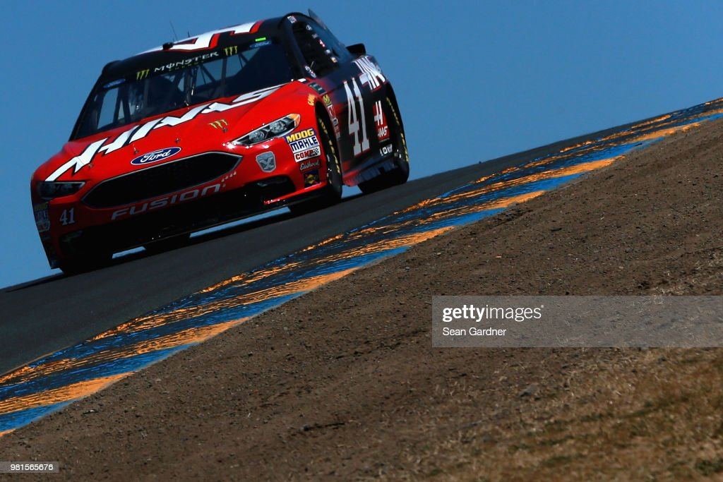Kurt Busch, driver of the #41 Haas Automation Ford, practices for the Monster Energy NASCAR Cup Series Toyota/Save Mart 350 at Sonoma Raceway on June 22, 2018 in Sonoma, California.