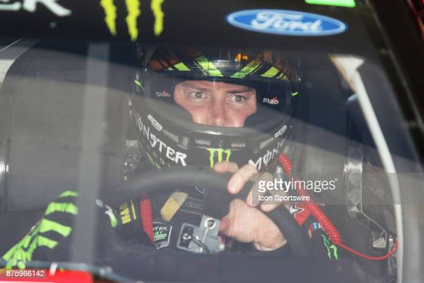 Kurt Busch driver of the Haas Automation/Monster Energy Chevy gets ready for practice for the Ford Ecoboost 400 at HomesteadMiami Speedway on...