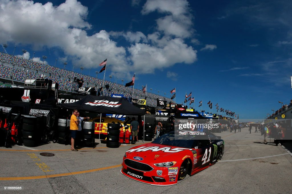 Kurt Busch, driver of the #41 Haas Automation/Monster Energy Ford, drives through the garage area during practice for the Monster Energy NASCAR Cup Series Advance Auto Parts Clash at Daytona International Speedway on February 10, 2018 in Daytona Beach, Florida.