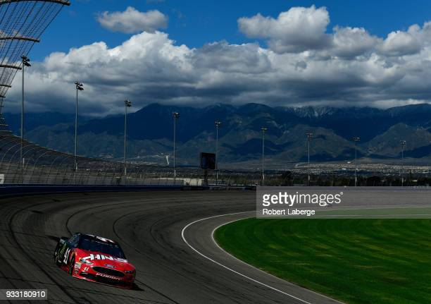 Kurt Busch driver of the Haas Automation/Monster Energy Ford drives during practice for the Monster Energy NASCAR Cup Series Auto Club 400 at Auto...