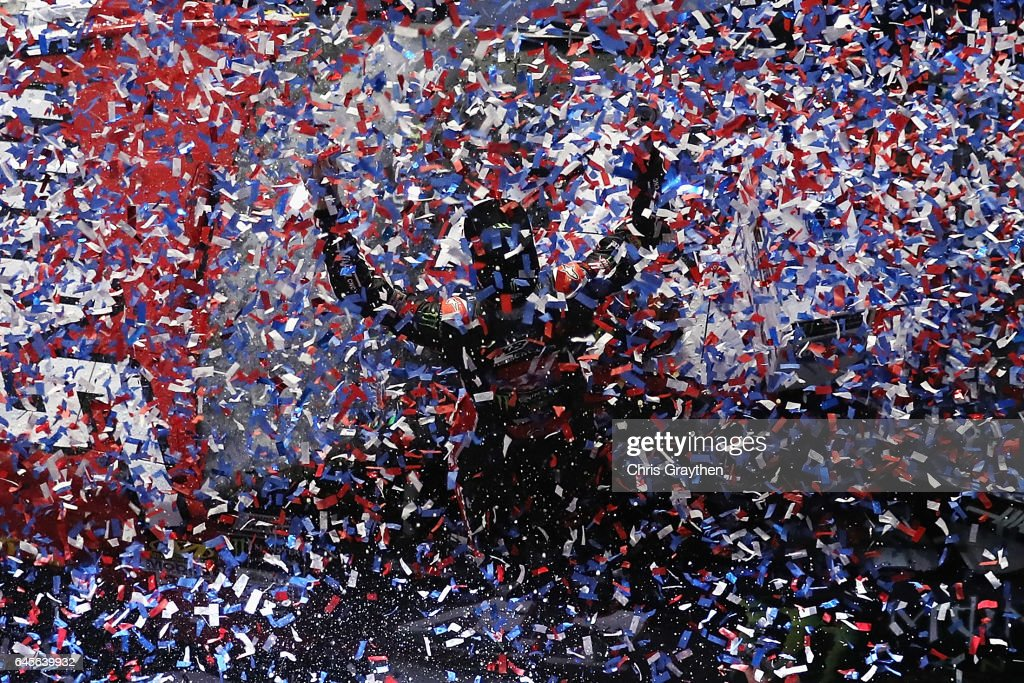 Kurt Busch, driver of the #41 Haas Automation/Monster Energy Ford, celebrates in Victory Lane after winning the 59th Annual DAYTONA 500 at Daytona International Speedway on February 26, 2017 in Daytona Beach, Florida.