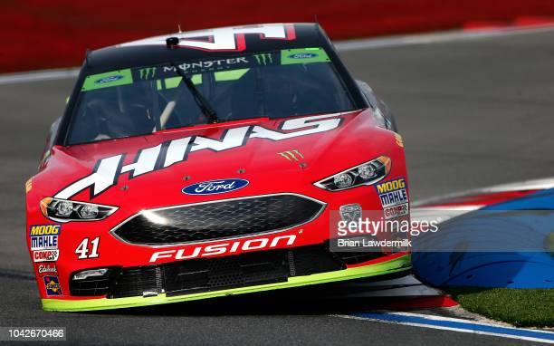 Kurt Busch driver of the Haas Automation/Monster Energy Ford qualifies for the Monster Energy NASCAR Cup Series Bank of America Roval 400 at...