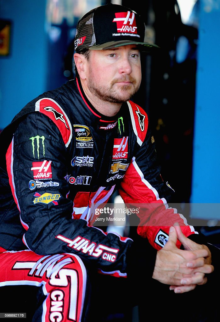 Kurt Busch, driver of the #41 Haas VF1/Monster Energy Chevrolet, sits in the garage area during practice for the NASCAR Sprint Cup Series Bojangles' Southern 500 at Darlington Raceway on September 3, 2016 in Darlington, South Carolina.
