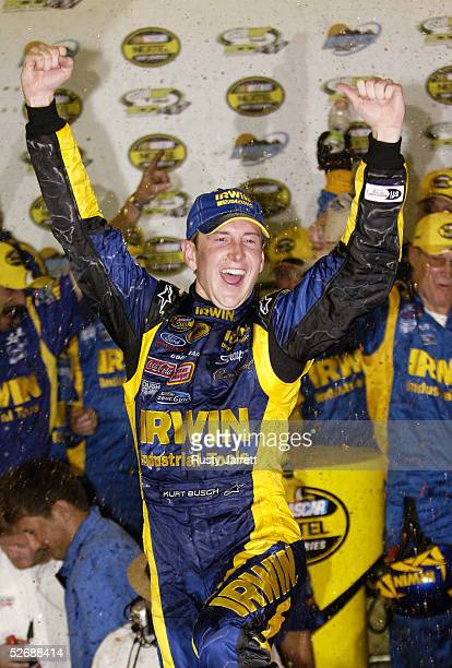 Kurt Busch, driver of the Irwin Industrial Tools Ford, celebrates winning the NASCAR Nextel Cup Series Subway Fresh 500 on April 23, 2005 at the...