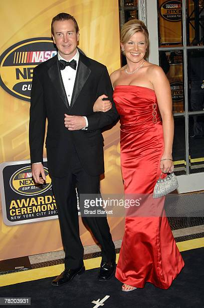 Kurt Busch driver of the Miller Lite Dodge and wife Eva arrive at the NASCAR Nextel Cup Series Awards Ceremony at The Waldorf Astoria on November 30...
