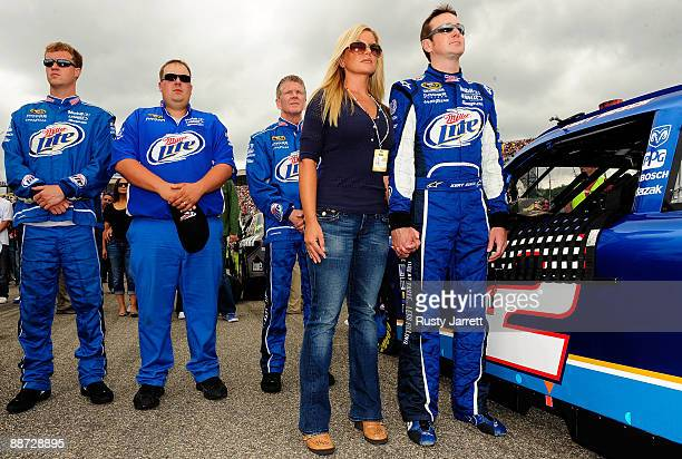 Kurt Busch driver of the Miller Lite Dodge and wife Eva stand on the grid prior to the start of the NASCAR Sprint Cup Series LENOX Industrial Tools...