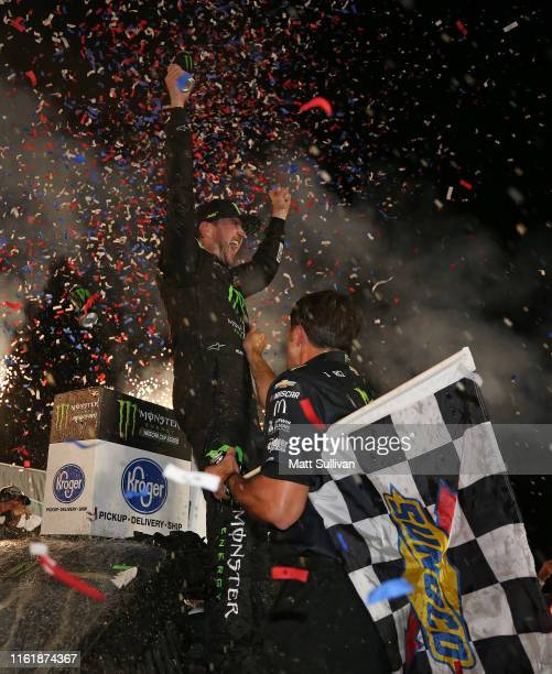 Kurt Busch driver of the Monster Energy Chevrolet celebrates in Victory Lane after winning the Monster Energy NASCAR Cup Series Quaker State 400...