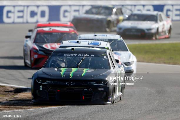 Kurt Busch, driver of the Monster Energy Chevrolet, drives during the NASCAR Cup Series O'Reilly Auto Parts 253 at Daytona International Speedway on...