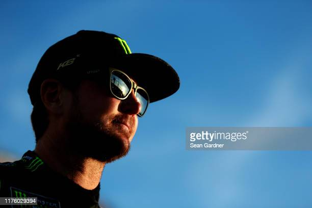 Kurt Busch driver of the Monster Energy Chevrolet looks on during qualifying for the Monster Energy NASCAR Cup Series Federated Auto Parts 400 at...