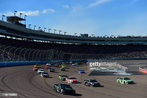 Kurt Busch, driver of the Monster Energy Chevrolet, races during the Monster Energy NASCAR Cup Series Bluegreen Vacations 500 at ISM Raceway on...