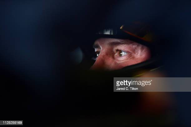 Kurt Busch driver of the Monster Energy Chevrolet sits in his car during practice for the Monster Energy NASCAR Cup Series 61st Annual Daytona 500 at...
