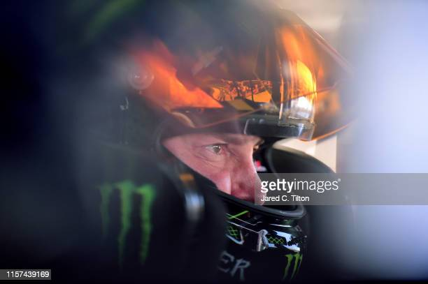 Kurt Busch driver of the Monster Energy Chevrolet sits in his car during practice for the Monster Energy NASCAR Cup Series Toyota/Save Mart 350 at...