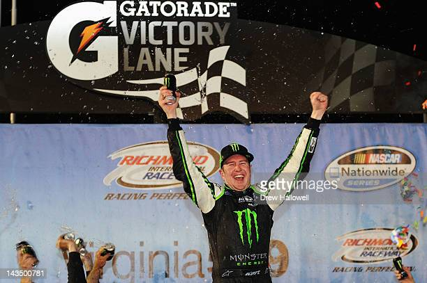 Kurt Busch driver of the Monster Energy Toyota celebrates in Victory Lane after winning the NASCAR Nationwide Series Virginia 529 College Savings 250...