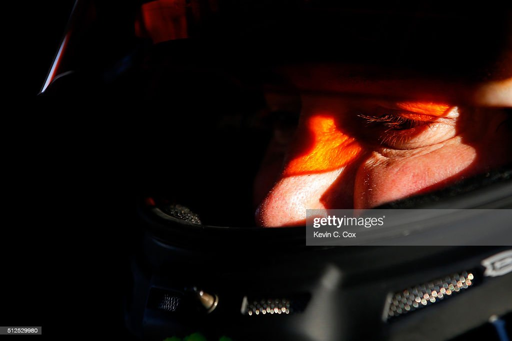 Kurt Busch, driver of the #41 Monster Energy/Haas Automation Chevrolet, sits in his car during qualifying for the NASCAR Sprint Cup Series Folds of Honor QuikTrip 500 at Atlanta Motor Speedway on February 26, 2016 in Hampton, Georgia.