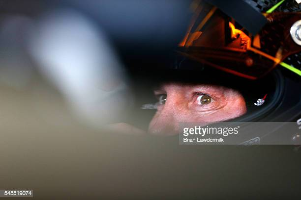 Kurt Busch, driver of the Monster Energy/Haas Automation Chevrolet, sits in his car during practice for the NASCAR Sprint Cup Series Quaker State 400...