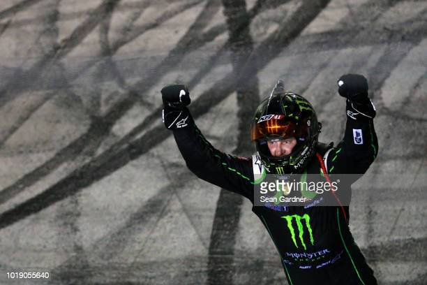 Kurt Busch driver of the Monster Energy/Haas Automation Ford celebrates after winning the Monster Energy NASCAR Cup Series Bass Pro Shops NRA Night...