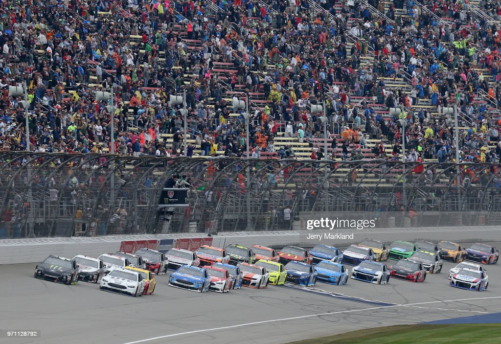 Kurt Busch, driver of the #41 Monster Energy/Haas Automation Ford, takes the green flag to start the Monster Energy NASCAR Cup Series FireKeepers Casino 400 at Michigan International Speedway on June 10, 2018 in Brooklyn, Michigan.