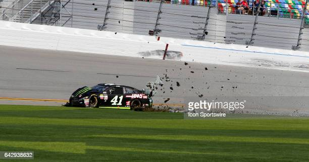 Kurt Busch Monster Energy/Haas Automation Ford Fusion crashes during the running of The Clash at Daytona on February 19 at Daytona International...