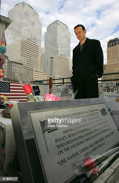 Kurt Busch the 2004 NASCAR NEXTEL Cup Series Champion visits the 9/11 Memorial on November 30 2004 at Ground Zero in New York City