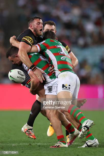 Kurt Capewell of the Panthers is tackled during the NRL Preliminary Final match between the Penrith Panthers and the South Sydney Rabbitohs at ANZ...
