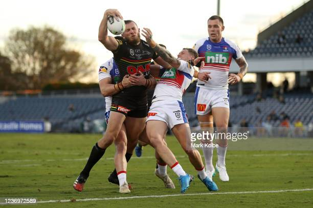Kurt Capewell of the Panthers scores a try during the round three NRL match between the Penrith Panthers and the Newcastle Knights at Campbelltown...