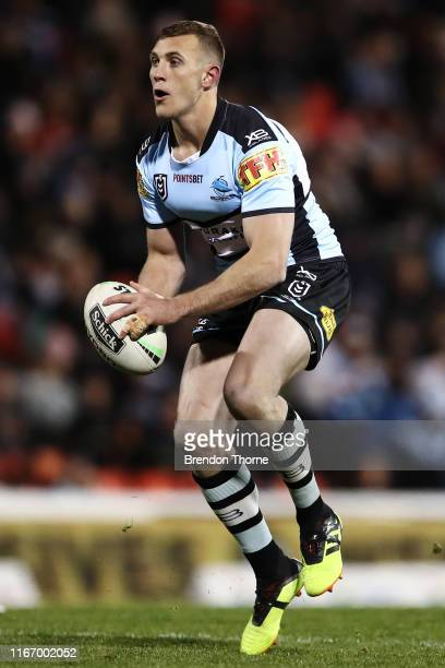 Kurt Capewell of the Sharks runs the ball during the round 21 NRL match between the Penrith Panthers and the Cronulla Sharks at Panthers Stadium on...