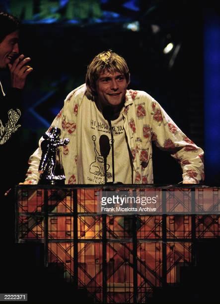 Kurt Cobain accepts his award at the 1992 MTV Video Music Awards.