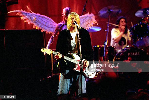 Kurt Cobain and Dave Grohl of Nirvana during MTV Live and Loud: Nirvana Performs Live - December 1993 at Pier 28 in Seattle, Washington, United...