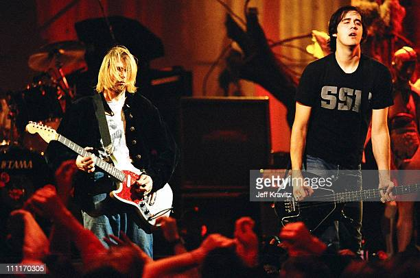 Kurt Cobain and Krist Novoselic of Nirvana during MTV Live and Loud: Nirvana Performs Live - December 1993 at Pier 28 in Seattle, Washington, United...