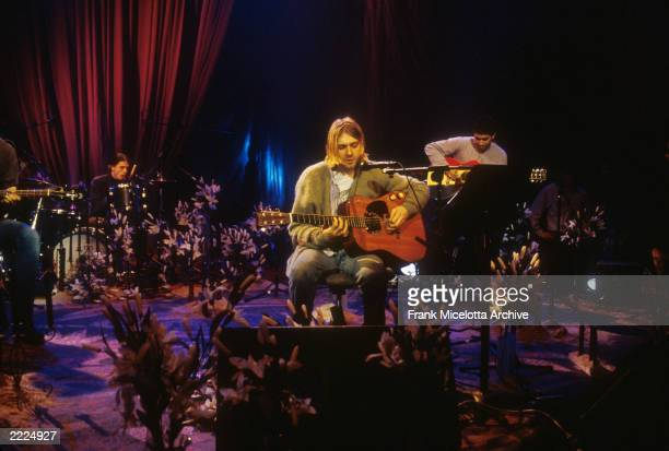 Kurt Cobain and Nirvana during the taping of MTV Unplugged at Sony Studios in New York City 11/18/93 Photo by Frank Micelotta