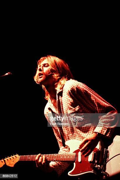 UNITED STATES NOVEMBER 15 Kurt COBAIN and NIRVANA Kurt Cobain performing live onstage at Roseland Ballroom playing Fender Mustang guitar