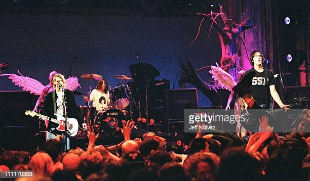 Kurt Cobain, Dave Grohl and Krist Novoselic of Nirvana
