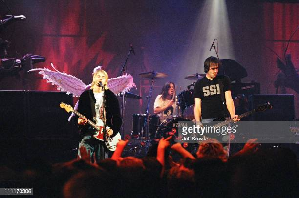 Kurt Cobain, Dave Grohl and Krist Novoselic of Nirvana