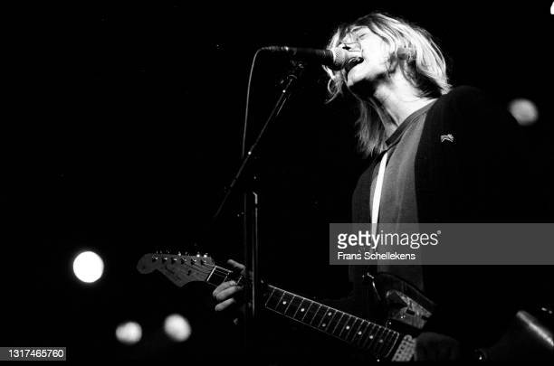 Kurt Cobain, guitar- vocal, performs with Nirvana at the Paradiso on 25th November 1991 in Amsterdam, Netherlands.