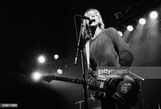 Kurt Cobain guitar vocal performs with Nirvana at the Paradiso on 25th November 1991 in Amsterdam Netherlands